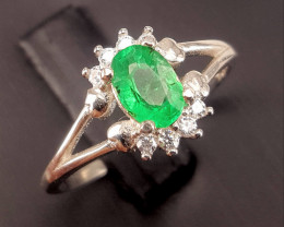 Natural Emerald with CZ.