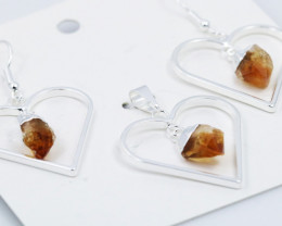 Raw Citrine Gemstone Lovers Heart Pendant and earring BRLHC-1