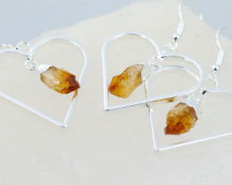 Four Raw Citrine Gemstone Lovers Heart Pendant and earring BRLHC-4