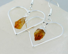 Six Raw Citrine Gemstone Lovers Heart Pendant and earring BRLHC-6