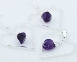 Raw Amethyst Gemstone Lovers Heart Pendant and earring BRLHA-1