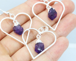 Six Raw Amethyst Gemstone Lovers Heart Pendant and earring BRLHA-6