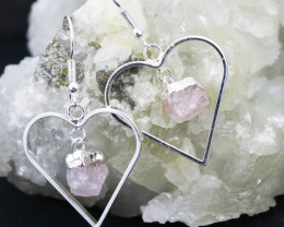 Six Raw Rose Quartz Gemstone Lovers Heart Pendant and Earring BRLHRQ-6
