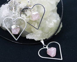 Four Raw Rose Quartz Gemstone Lovers Heart Pendant and Earring BRLHRQ-4