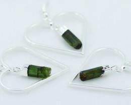 Six Green Black tourmaline Lovers Heart Pendant and Earring BRLHGBT-6