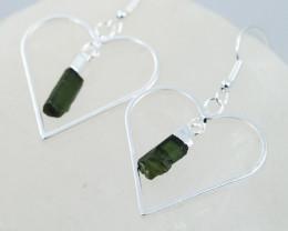 Four Green Black tourmaline Lovers Heart Pendant and Earring BRLHGBT-4