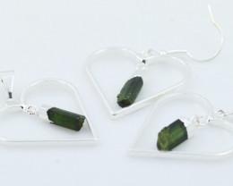 Green Black tourmaline Lovers Heart Pendant and Earring BRLHGBT-1