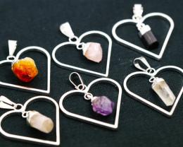 Six Raw Gemstone Lovers Heart Pendants BRLH-1