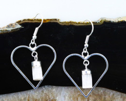 Raw Selenite Gemstone Lovers Heart Pendant and Earring BRLHSL -1