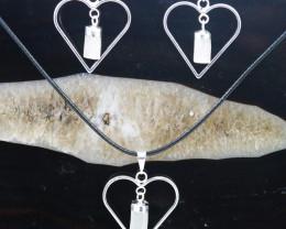 Four Raw Selenite Gemstone Lovers Heart Pendant and Earring BRLHSL-4