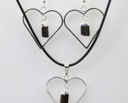 Black tourmaline Lovers Heart Pendant and Earring BRLHBT-1