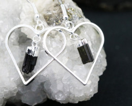Four Raw Black tourmaline Lovers Heart Pendant and Earring BRLHBT -4