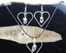 Raw Crystal Gemstone Lovers Heart Pendant and Earring BRLHCRY-1