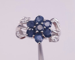 Natural Sapphire and CZ Ring