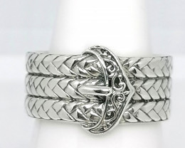 Braided Buckle Rind in Sterling Silver