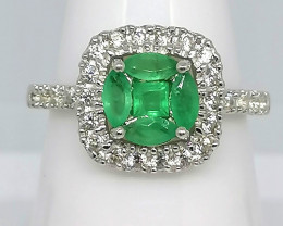 Kagem Emerald and Zircon Ring 1.22 TCW