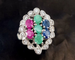 Natural Emerald And Sapphire Ruby Ring