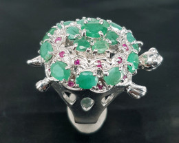 Turtle Style Natural Emerald Ring