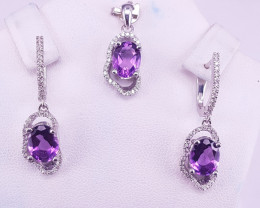 Natural Amethyst Earrings and Pendant