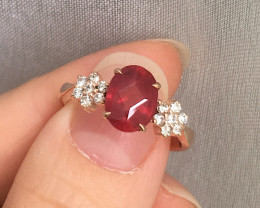 Ruby Solid 14K Yellow Gold Ring 3.55grams