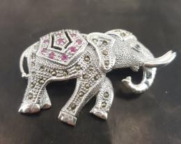 Elephant design Ruby Brooch