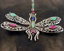 Dragonfly Style Natural Emerald And Sapphire Ruby Brooch