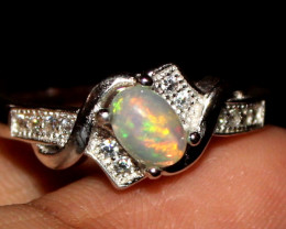 Natural Ethiopian Welo Opal 925 Silver Ring 8