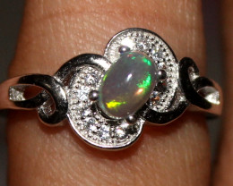 Natural Ethiopian Welo Opal 925 Silver Ring 15