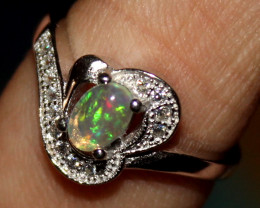Natural Ethiopian Welo Opal 925 Silver Ring 77