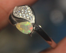 Natural Ethiopian Welo Faceted Opal 925 Silver Ring 166