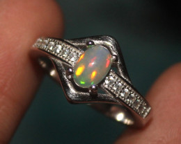 Natural Ethiopian Welo Opal 925 Silver Ring 13