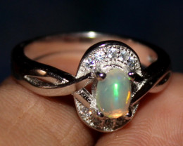 Natural Ethiopian Welo Opal 925 Silver Ring 65