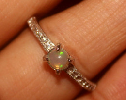Natural Ethiopian Welo Opal 925 Silver Ring 58