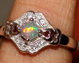 Natural Ethiopian Welo Opal 925 Silver Ring 63