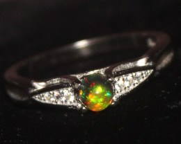 Natural Ethiopian Welo Smoked Opal 925 Silver Ring 3