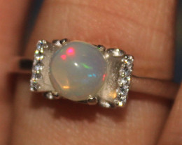 Natural Ethiopian Welo Opal 925 Silver Ring 122