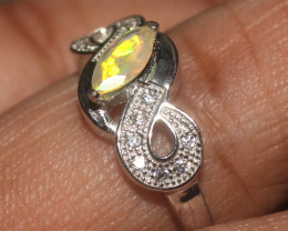 Natural Ethiopian Welo Faceted Opal 925 Silver Ring 5