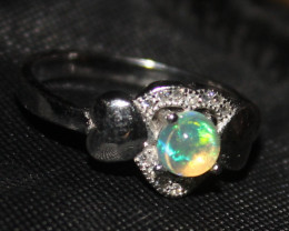 Natural Ethiopian Welo Opal 925 Silver Ring 79