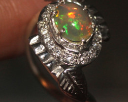 Natural Ethiopian Welo Opal 925 Silver Ring 143