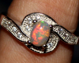Natural Ethiopian Welo Opal 925 Silver Ring 72