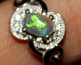 Natural Ethiopian Welo Opal 925 Silver Ring 66