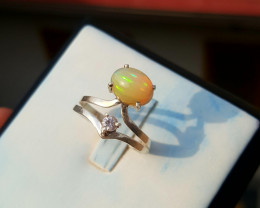 Natural Opal and sapphire Ring.
