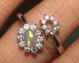 Natural Ethiopian Welo Opal 925 Silver Ring 17
