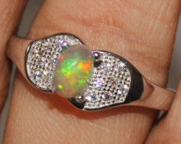 Natural Ethiopian Welo Opal 925 Silver Ring 305