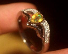 Natural Ethiopian Welo Faceted Opal 925 Silver Ring 56