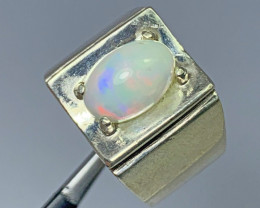 62 Carats multifire opal 925 Silver Ring, Ring size 10.