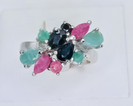32.27 Crt Natural Ruby Emerald and Sapphire 925 Silver Ring