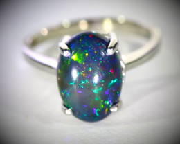 Blue Opal 3.75ct Platinum Finish Solid 925 Sterling Silver Ring