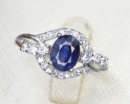 Sapphire 15.06 Cts CZ and Silver Ring