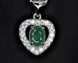 Natural Emerald 14.52 Cts CZ and Silver Pendant